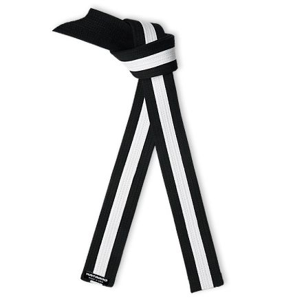 Deluxe Black Belt White Stripe