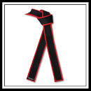 Embroidered Master Black Belt Red Border - Brushed Cotton E4936
