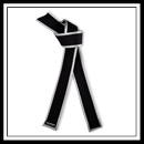Embroidered Master Black Belt Silver Border - Brushed Cotton with Satin E4942CS