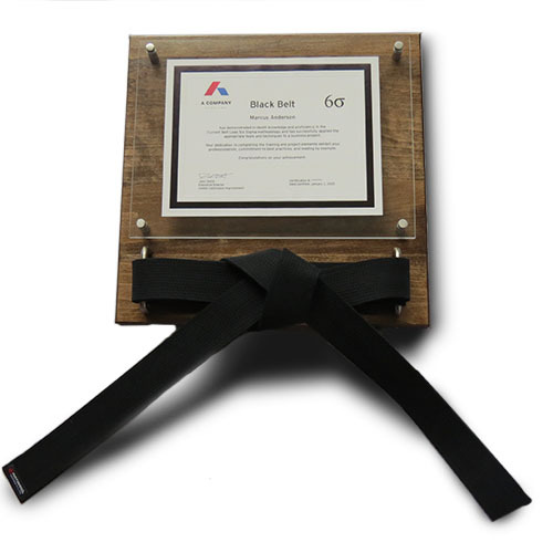 Executive Six Sigma Black Belt Certificate Acrylic Display