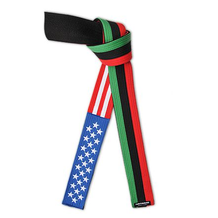 Embroidered American African Flag Belt USA