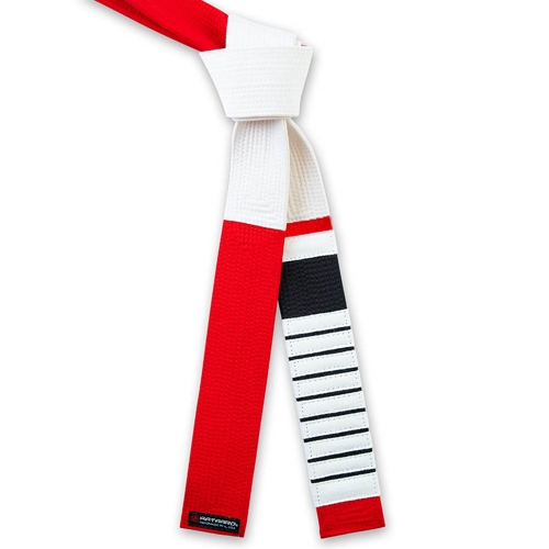 Deluxe Red and White Jujitsu Panel Coral Belt