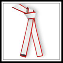 Embroidered Master White Belt Red Border - Brushed Cotton with Satin E4940CS
