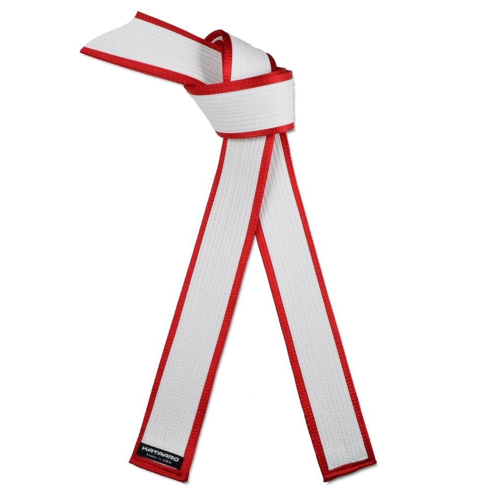 Deluxe Master White Belt Red Satin Border