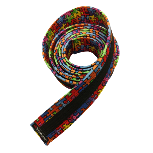 Autism Awareness Deluxe Rank Belt with Black Stripe (Clearance Item)