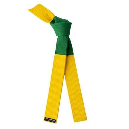 Deluxe BJJ Tournament Green Yellow Panel Belt